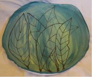 """""""Gum Leaf"""" platter. Porcelain, underglaze. ceramic inks."""