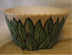 """Gum Leaf"" bowl. Stoneware, underglaze and underglaze inks."