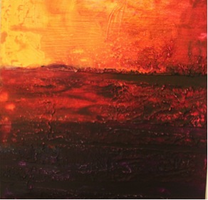 """Bushfire Sunset."" Acrylic on MDF."