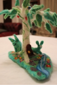 Needle-felted Fairy Tree with Bluebird of Happiness & Zombie Pig & Rabbit. Wool.