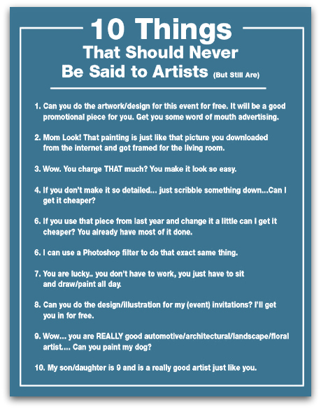 10 things that should never be said to artists