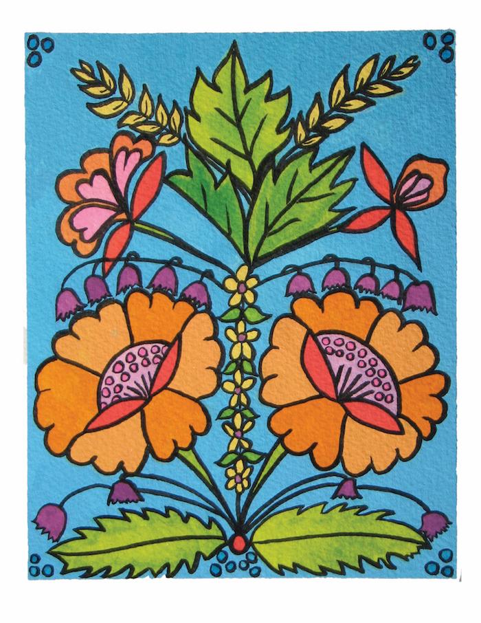Orange_and_Turquoise_Folk_Flower